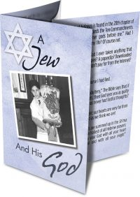 "This is what the ""A Jew and His God"" booklet looks like folded."
